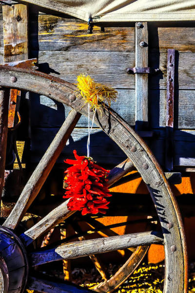 Red Wagon Wall Art - Photograph - Wagon Wheel With Chili Peppers by Garry Gay