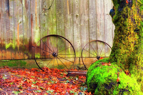 Wagon Wheels And Autumn Leaves Art Print