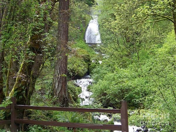 Photograph - Wahkeena Falls Behind Fence by Charles Robinson