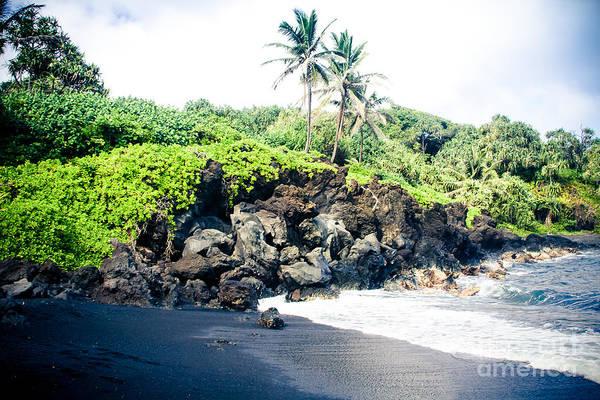 Photograph - Waianapanapa Black Sand Beach Pailoa Bay Hana Maui Hawaii by Sharon Mau