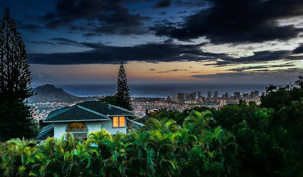 Photograph - Waikiki At Dusk by Wayne Wood