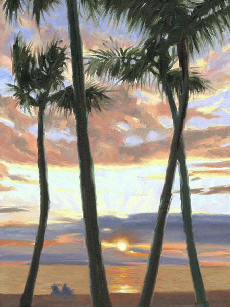 Wall Art - Painting - Wailea Sunset by Steve Simon