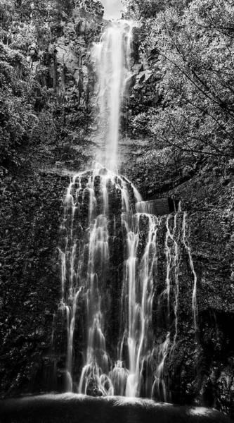 Wall Art - Photograph - Wailua Falls Black And White by Kelley King