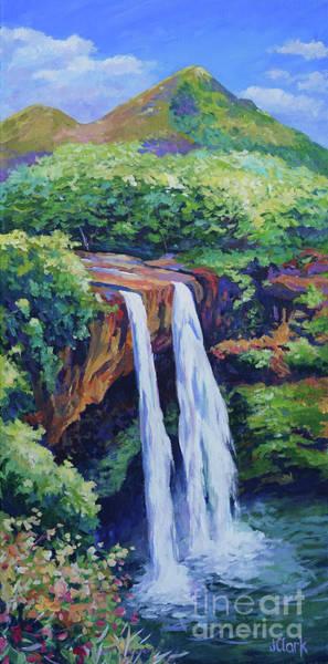 Rainforest Painting - Wailua Falls by John Clark