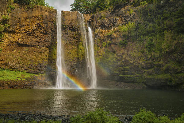 Hawaiian Islands Wall Art - Photograph - Wailua Falls Rainbow by Brian Harig