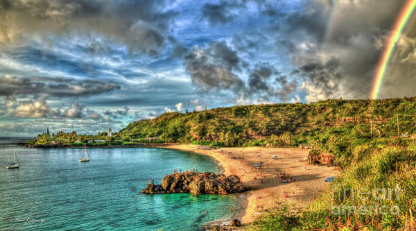 Photograph - Waimea Rainbow Sunset 2 Waimea Bay Beach Oahu Hawaii Art by Reid Callaway