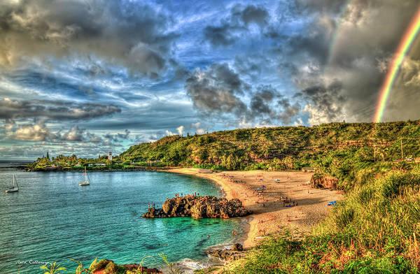 Photograph - Waimea Rainbow Sunset Waimea Bay Beach Oahu Hawaii Art by Reid Callaway