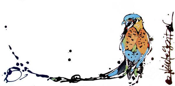 Painting - Waiting American Kestrel by Nicole Gaitan