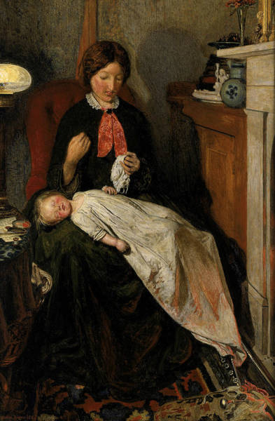 Wall Art - Painting - Waiting - An English Fireside Of 1854-55 by Ford Madox Brown