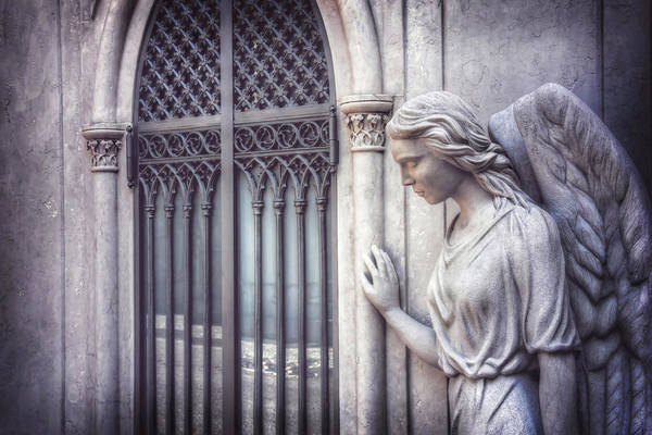 Enchanted Photograph - Waiting Angel In Prazeres Lisbon by Carol Japp