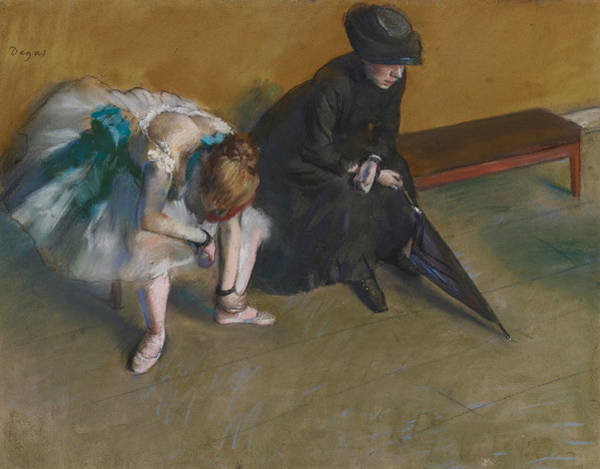 Pastel - Waiting by Edgar Degas