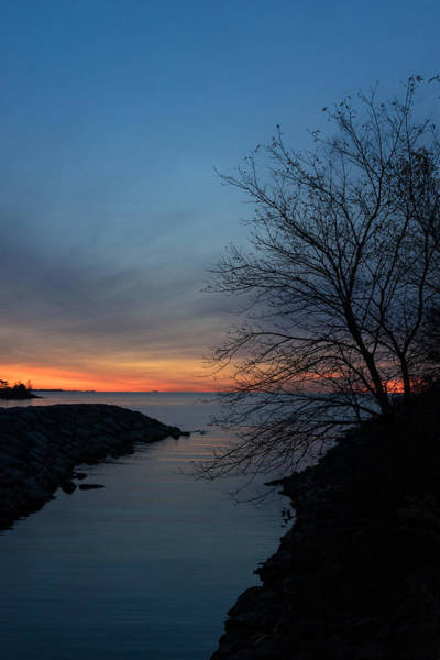 Promontory Point Photograph - Waiting For Dawn - Lakeside Blues And Oranges by Georgia Mizuleva