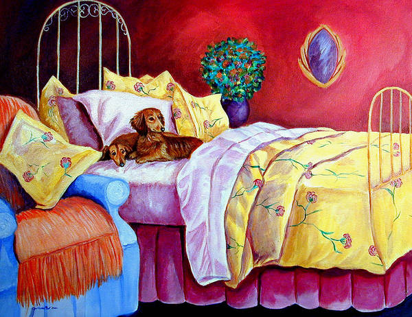 Bed Painting - Waiting For Mom - Dachshund by Lyn Cook