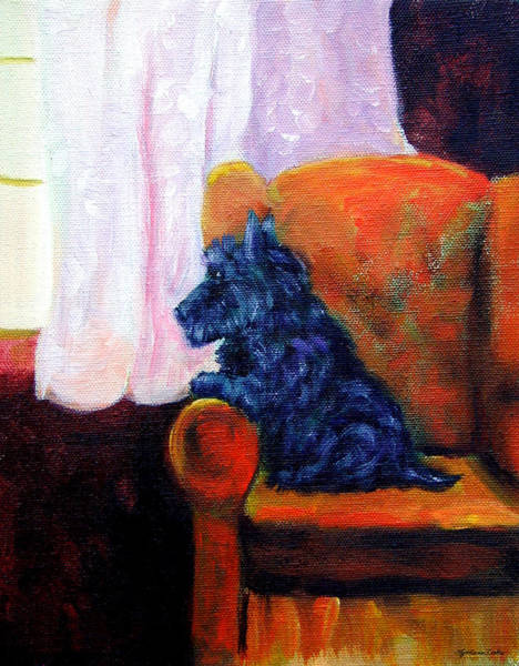 Wall Art - Painting - Waiting For Mom - Scottish Terrier by Lyn Cook