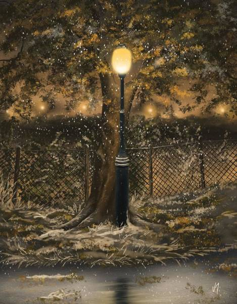 Winter Walk Painting - Waiting For The Snow by Veronica Minozzi