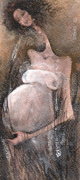 Pregnancy Painting - Waiting For The Summer by Maya Manolova