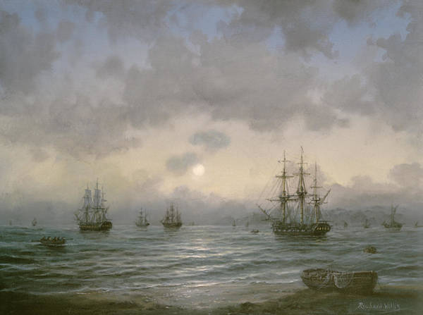 Galleons Wall Art - Painting - Waiting For The Tide by Richard Willis