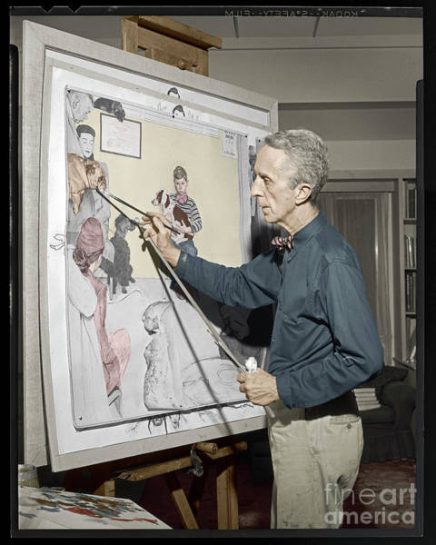 Photograph - Waiting For The Vet Norman Rockwell by Martin Konopacki Restoration