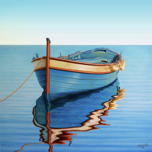 Fishing Boat Painting - Waiting For Thr Crew by Horacio Cardozo