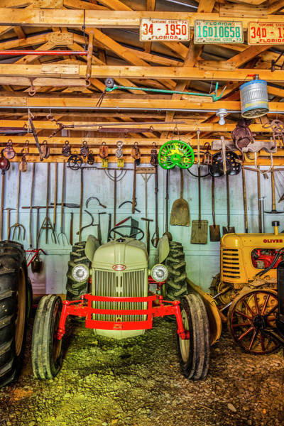 John Oliver Cabin Photograph - Waiting In The Garage Tools And Tractors by Debra and Dave Vanderlaan