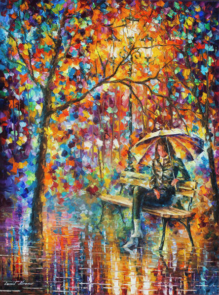 Wall Art - Painting - Waiting In The Rain by Leonid Afremov