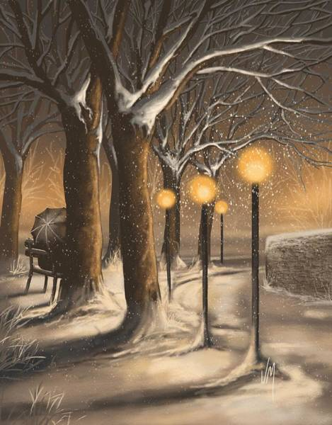 Winter Walk Painting - Waiting In The Snow by Veronica Minozzi