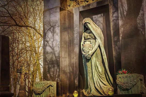 Polished Photograph - Waiting Lady  Powazki Cemetery Warsaw  by Carol Japp