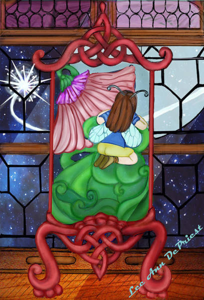 Leaded Glass Painting - Waiting On The Lady by Lee DePriest