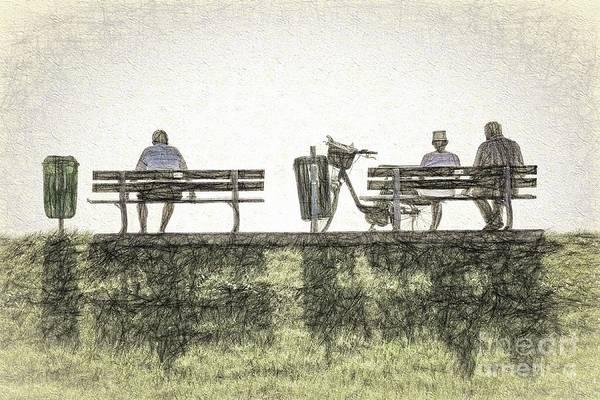 Park Bench Digital Art - Waiting. Watching. by Howard Ferrier