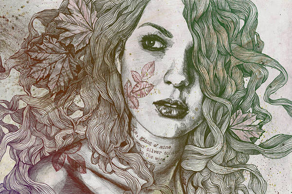 Urban Drawing - Wake - Autumn - Street Art Woman With Maple Leaves Tattoo by Marco Paludet