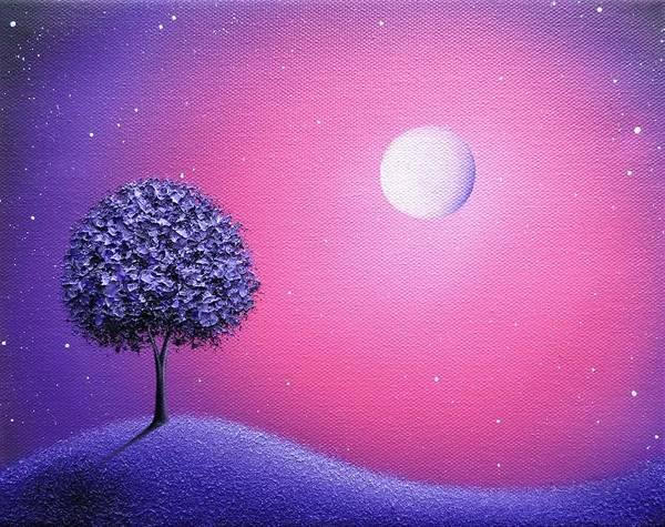 Full Moon Painting - Wakes The Night by Rachel Bingaman