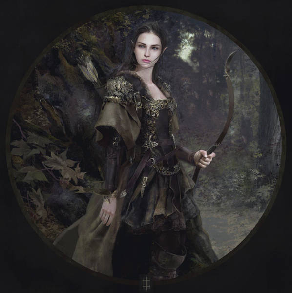 Elf Wall Art - Painting - Waldelfe by Eve Ventrue