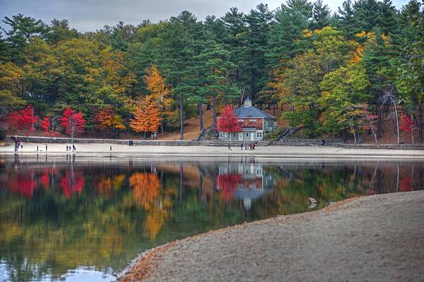 Photograph - Walden Pond Bath House Concord Ma Beach by Toby McGuire