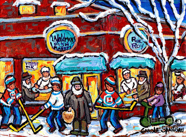 Painting - Waldmans Fish Market Montreal Winter Scene The Jewish Street Hockey Art Canadian Painting C Spandau by Carole Spandau