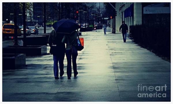 Photograph - Walking In The Rain - City Of Chicago by Frank J Casella