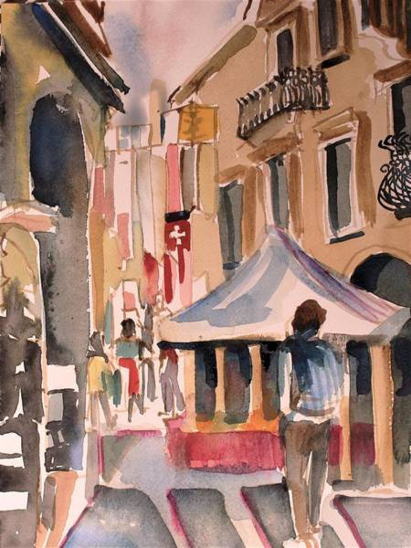 Wall Art - Painting - Walking In Verona Italy  by Mindy Newman