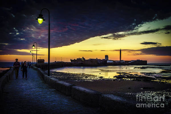 Photograph - Walk At Dusk La Caleta Beach Cadiz Spain by Pablo Avanzini