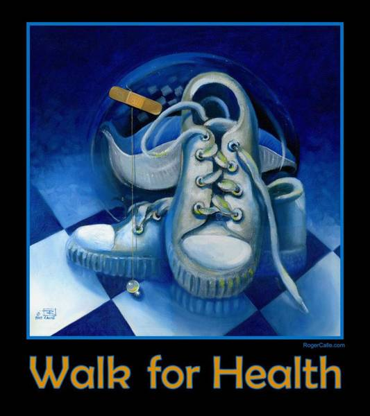 Sneakers Painting - Walk For Health Poster by Roger Calle