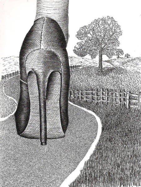 High Heels Drawing - Walk In The Country by Grace Rose