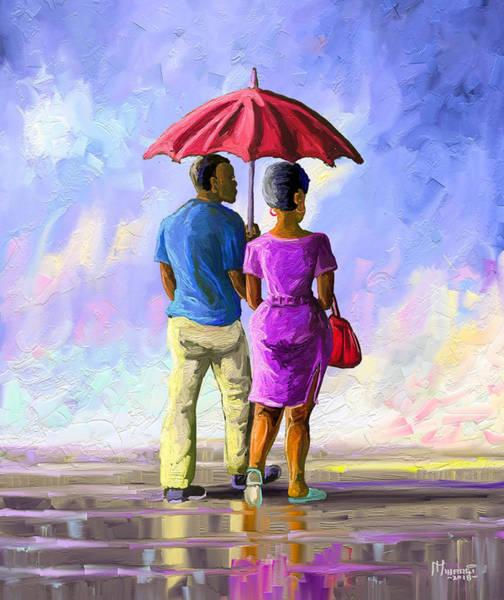 Uganda Painting - Walk In The Rain by Anthony Mwangi