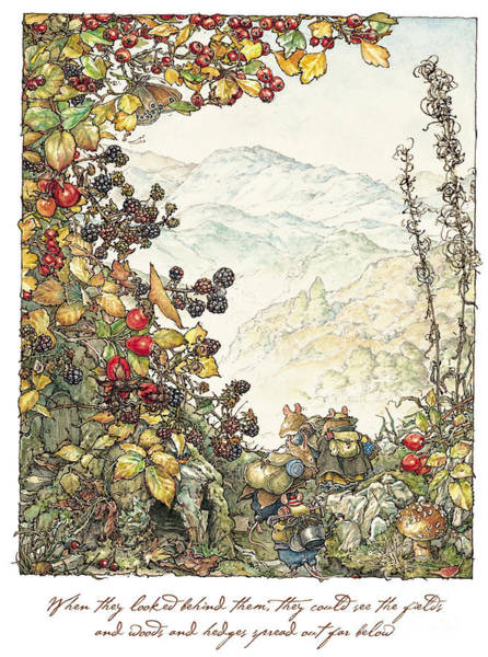 Wall Art - Drawing - Walk To The High Hills by Brambly Hedge