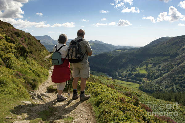 Photograph - Walkers On  The Precipice Walk, Snowdonia Wales Uk by Keith Morris