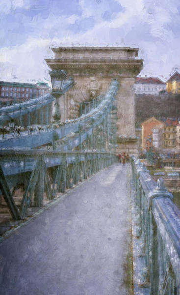 Photograph - Walking Across The Chain Bridge In Budapest Hungary by Joan Carroll