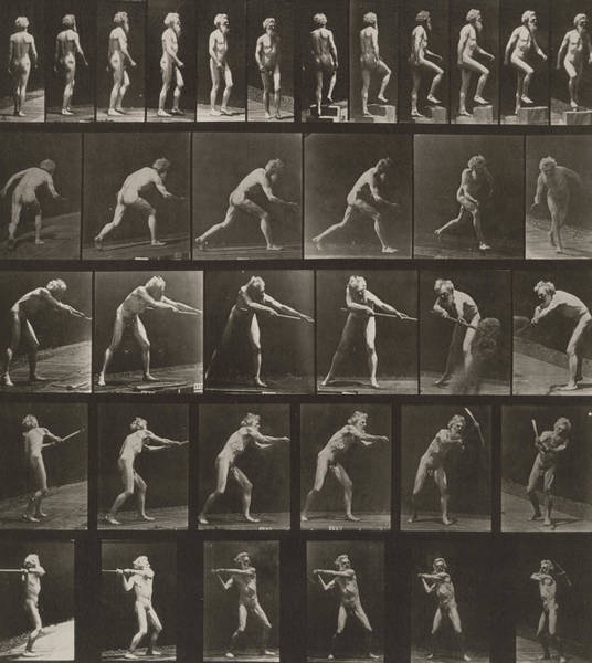 Shovel Photograph - Walking, Ascending, Throwing by Eadweard Muybridge