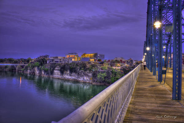 Photograph - Walking In Chattanooga Walnut Street Pedestrian Bridge Hunter Museum Of American Art by Reid Callaway