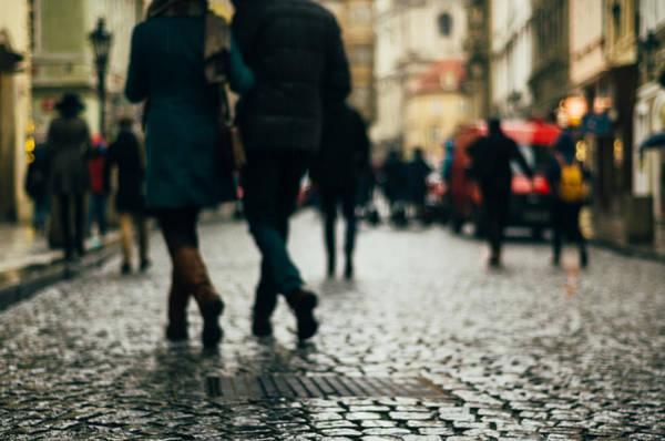 Photograph - Walking Couples. Prague by Inna Mosina