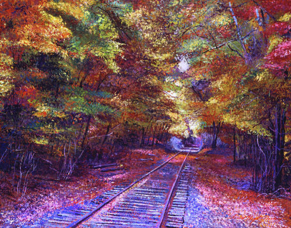 Wall Art - Painting - Walking Down The Railway Tracks by David Lloyd Glover