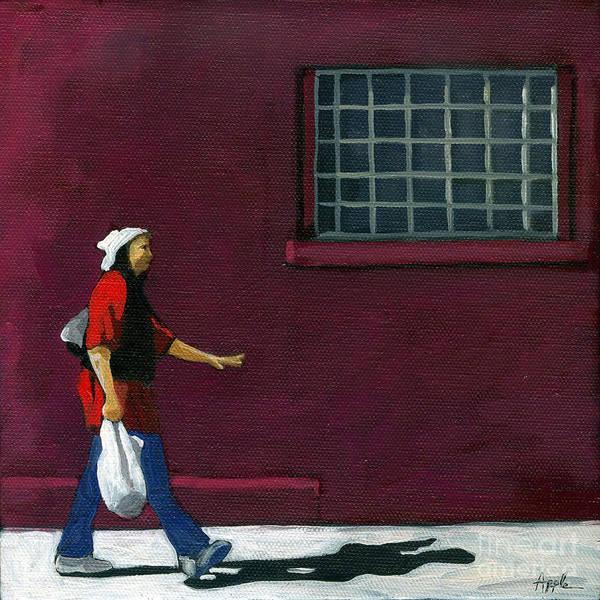 Wall Art - Painting - Walking Home - Figurative City Scene by Linda Apple