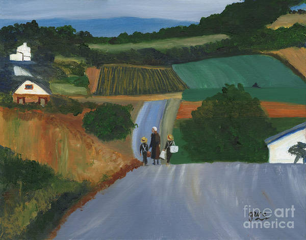 Wall Art - Painting - Walking Home From School by Gloria Condon