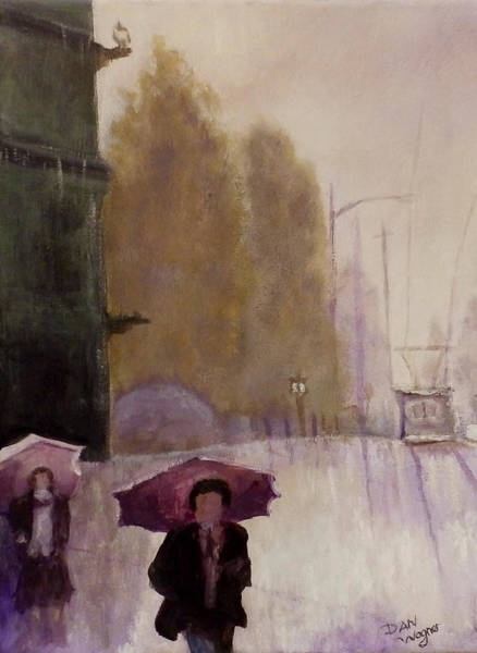 Painting - Walking In The Rain by Dan Wagner